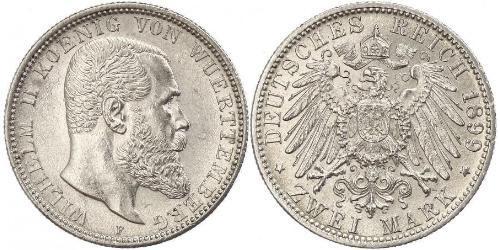 2 Mark Regno di Württemberg (1806-1918) Argento Wilhelm II, German Emperor (1859-1941)