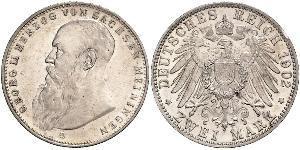 2 Mark Sassonia-Meiningen (1680 - 1918) Argento Giorgio II di Sassonia-Meiningen