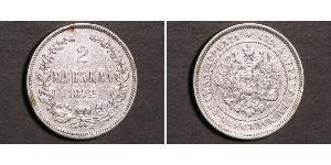 2 Mark Gran Ducado de Finlandia (1809 - 1917) Plata Alejandro III (1845 -1894)