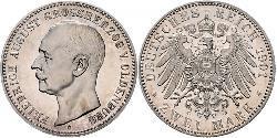 2 Mark Grand Duchy of Oldenburg (1814 - 1918) Plata Federico Augusto III de Sajonia (1865-1932)