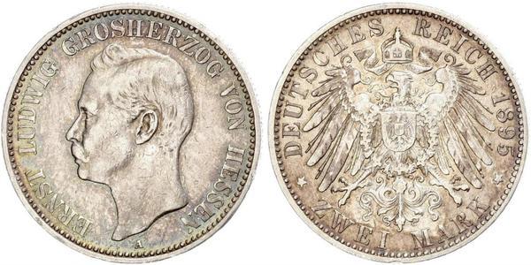 2 Mark Hesse-Darmstadt (1806 - 1918) Plata Ernesto Luis de Hesse-Darmstadt (1868 - 1937)