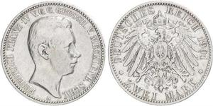 2 Mark Mecklemburgo-Schwerin (1352-1918) Plata Frederick Francis IV, Grand Duke of Mecklenburg (1882 - 1945)