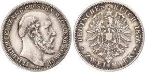 2 Mark Mecklemburgo-Schwerin (1352-1918) Plata Federico Francisco II de Mecklemburgo-Schwerin