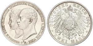 2 Mark Mecklemburgo-Schwerin (1352-1918) Plata Frederick Francis IV, Grand Duke of Mecklenburg (1882 - 1945)