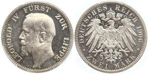 2 Mark Principado de Lippe (1123 - 1918) Plata Leopoldo IV de Lippe