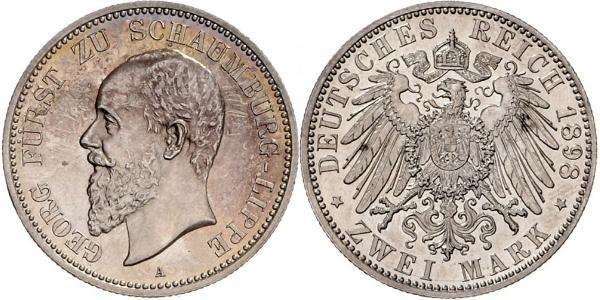 2 Mark Principado de Lippe (1123 - 1918) Plata Jorge de Schaumburg-Lippe