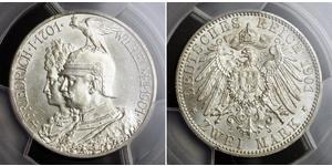 2 Mark Reino de Prusia (1701-1918) Plata Wilhelm II, German Emperor (1859-1941)
