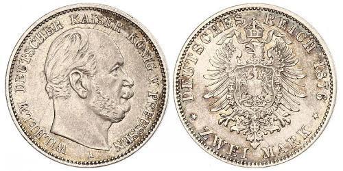 2 Mark Reino de Prusia (1701-1918) Plata Wilhelm I, German Emperor (1797-1888)