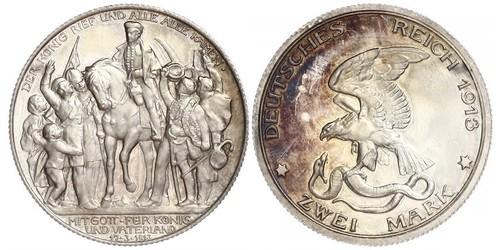 2 Mark Reino de Prusia (1701-1918) Plata