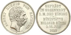 2 Mark Reino de Sajonia (1806 - 1918) Plata Alberto I de Sajonia