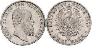 2 Mark Reino de Wurtemberg (1806-1918) Plata Carlos I de Wurtemberg
