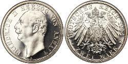 2 Mark Anhalt-Dessau (1603 -1863) / Anhalt (1806 - 1918) Silber Friedrich II. (Anhalt)(1856 – 1918)