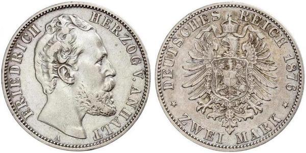 2 Mark Anhalt-Dessau (1603 -1863) / Anhalt (1806 - 1918) Silber Friedrich I. (Anhalt) (1831-1904)