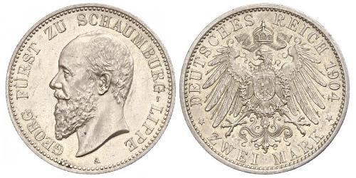 2 Mark Fürstentum Lippe (1123 - 1918) Silber Georg (Schaumburg-Lippe)