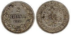 2 Mark Großfürstentum Finnland (1809 - 1917) Silber Alejandro III (1845 -1894)