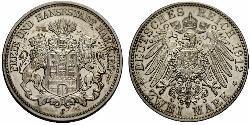 2 Mark Hamburg / Deutschland Silber