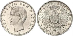 2 Mark Königreich Bayern (1806 - 1918) Silber Otto (Bayern)(1848 – 1916)