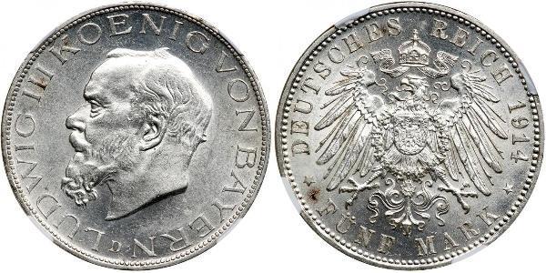 2 Mark Königreich Bayern (1806 - 1918) Silber Ludwig III. (Bayern) (1845 – 1921)