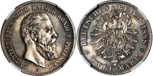 2 Mark Königreich Preußen (1701-1918) Silber Friedrich III. (Deutsches Reich) (1831-1888)
