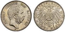 2 Mark Königreich Sachsen (1806 - 1918) Silber Albert (Sachsen)