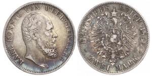2 Mark Königreich Württemberg (1806-1918) Silber Karl (Württemberg)