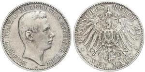 2 Mark Mecklenburg-Schwerin (1352-1918) Silber Frederick Francis IV, Grand Duke of Mecklenburg (1882 - 1945)