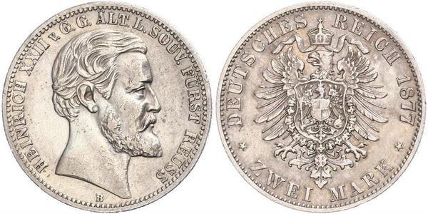 2 Mark Reuß älterer Linie (1778 - 1918) Silber Heinrich XXII (1859 - 1902)