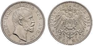 2 Mark Anhalt-Dessau (1603 -1863) Silver Frederick I, Duke of Anhalt (1831-1904)