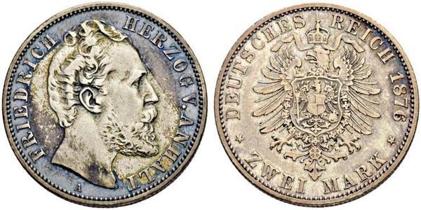 2 Mark Anhalt-Dessau (1603 -1863) / Duchy of Anhalt (1806 - 1918) Silver Frederick I, Duke of Anhalt (1831-1904)