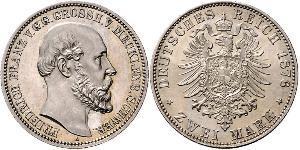 2 Mark Duchy of Mecklenburg-Schwerin (1352-1918) Silver Frederick Francis II, Grand Duke of Mecklenburg-Schwerin