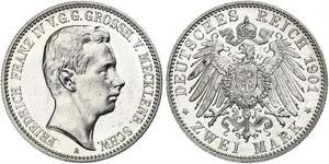 2 Mark Duchy of Mecklenburg-Schwerin (1352-1918) Silver Frederick Francis IV, Grand Duke of Mecklenburg (1882 - 1945)