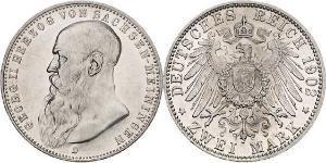 2 Mark Duchy of Saxe-Meiningen (1680 - 1918) Silver Georg II, Duke of Saxe-Meiningen