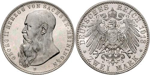 2 Mark Duchy of Saxe-Meiningen (1680 - 1918) Silver Georg II, Duke of Saxe-Meiningen