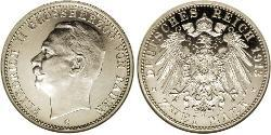 2 Mark Grand Duchy of Baden (1806-1918) Silver Frederick II, Grand Duke of Baden (1857 - 1928)