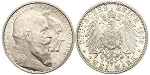 2 Mark Grand Duchy of Baden (1806-1918) Silver Frederick I, Grand Duke of Baden (1826 - 1907)