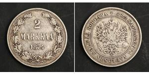 2 Mark Grand Duchy of Finland (1809 - 1917) Silver Alexander III (1845 -1894)