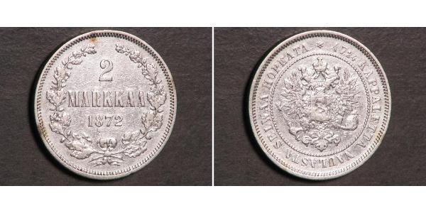 2 Mark Grand Duchy of Finland (1809 - 1917) Silver Alexander III (1845 -1894)