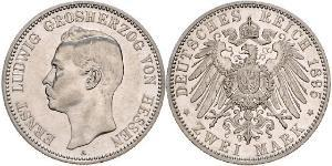 2 Mark Grand Duchy of Hesse (1806 - 1918) Silver Ernest Louis, Grand Duke of Hesse (1868 - 1937)