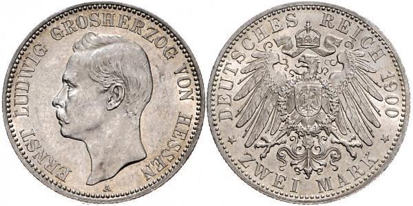 2 Mark Grand Duchy of Hesse (1806 - 1918) Silver Ernest Louis, Grand Duke of Hesse (1868 - 1937)