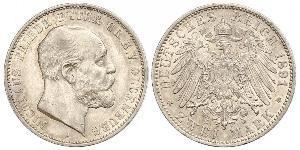 2 Mark Grand Duchy of Oldenburg (1814 - 1918) Silver Peter II, Grand Duke of Oldenburg (1827 - 1900)