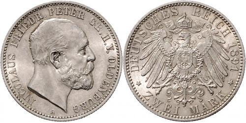 2 Mark Grand Duchy of Oldenburg (1814 - 1918) Silver Peter II, Grand Duke of Oldenburg (1827 - 1900)