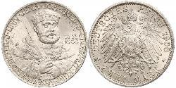 2 Mark Grand Duchy of Saxe-Weimar-Eisenach (1809 - 1918) Silver William Ernest, Grand Duke of Saxe-Weimar-Eisenach