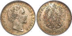 2 Mark Kingdom of Bavaria (1806 - 1918) Silver Ludwig II of Bavaria (1845 – 1886)