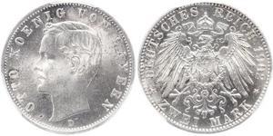 2 Mark Kingdom of Bavaria (1806 - 1918) Silver Otto of Bavaria (1848 – 1916)