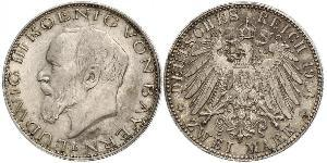 2 Mark Kingdom of Bavaria (1806 - 1918) Silver Ludwig III of Bavaria (1845 – 1921)