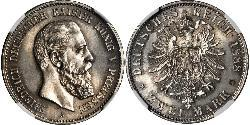 2 Mark Kingdom of Prussia (1701-1918) Silver Frederick III, German Emperor (1831-1888)