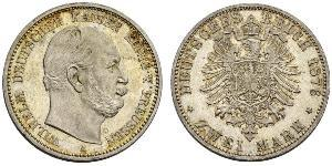2 Mark Kingdom of Prussia (1701-1918) Silver Wilhelm I, German Emperor (1797-1888)