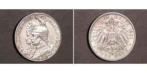 2 Mark Kingdom of Prussia (1701-1918) Silver Wilhelm II, German Emperor (1859-1941)