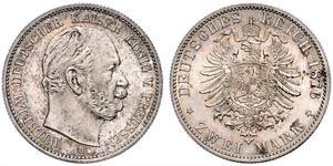 2 Mark Kingdom of Prussia (1701-1918) Silver Wilhelm I, German Emperor (1797-1888)