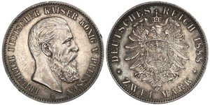 2 Mark Kingdom of Prussia (1701-1918) Silver Frederick III, German Emperor (1831-1888)